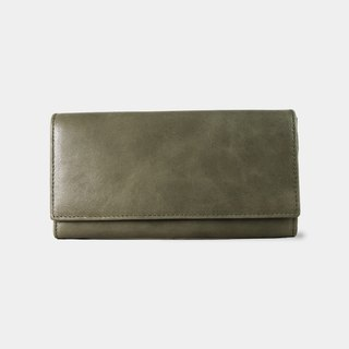 Influxx Aubrey Envelope Leather Wallet – Dark Olive Green