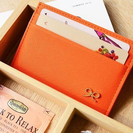 Dessin x Jamstudio-Lovelybron bow leather business card ticket clip - Classic Orange, JSD77547