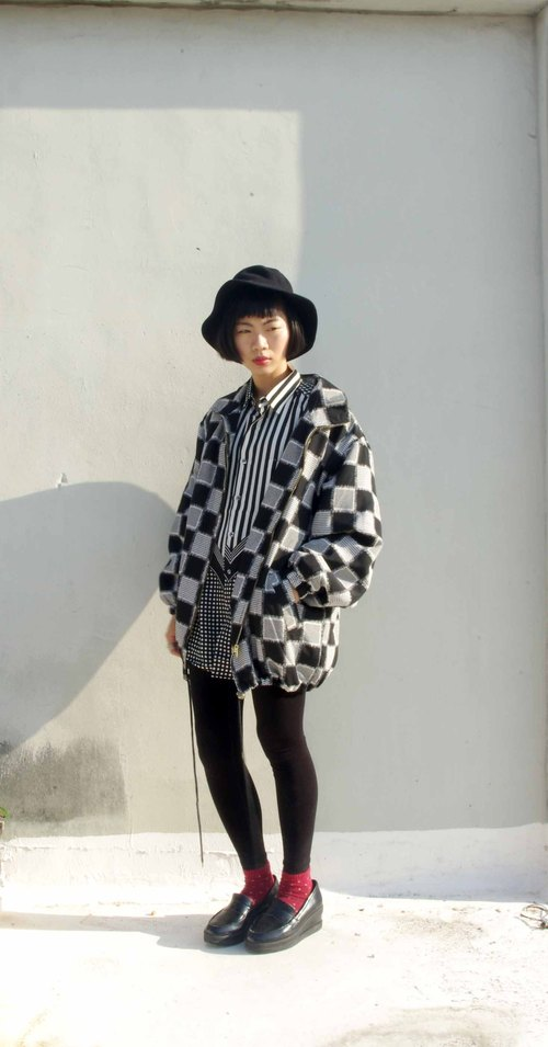 4.5studio- vintage treasure hunt - a space on the board checkered oversize cotton windbreaker jacket shop