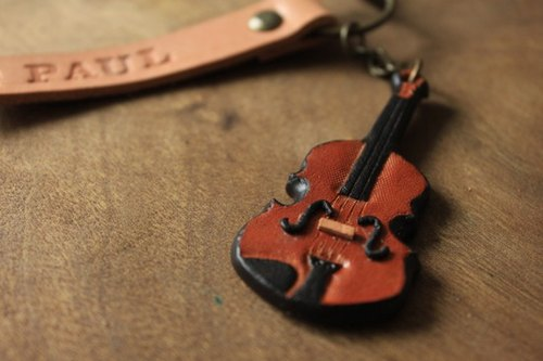 Violin handmade leather key ring (Valentine's Day gift made gift) - can be lettering