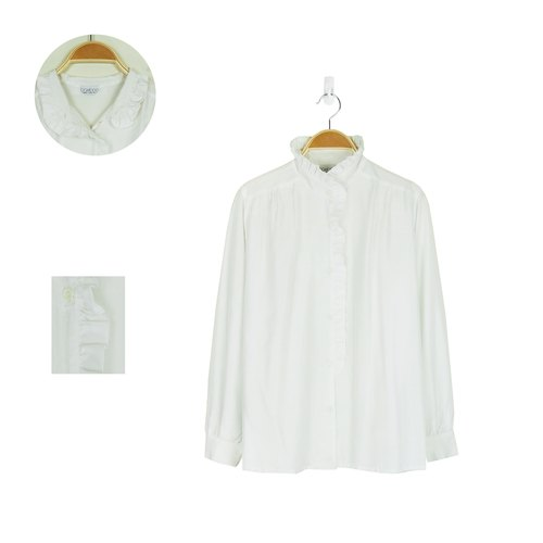 A‧PRANK: DOLLY :: VINTAGE retro with small white lotus leaf lace collar ladies shirt vintage