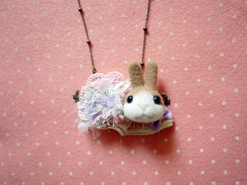 ~ Small rabbit wool felt wool crocheted necklace
