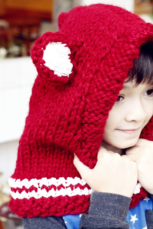 [Good day] hand made hand-made knit red bear cap hat (child version)