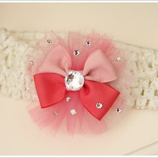 Romantic yarn bow baby hair clips / hair band / handmade