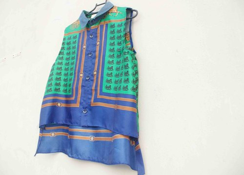 4.5studio- independent hand-made by FU- horses silk printing cycle X tannins denim sleeveless shirt