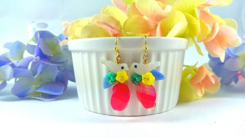 ". ""Good morning, little bird shells Rainbow Series"" - small birds jelly jewel on the Brazilian forest wild plum natural agate (hypoallergenic ear hook / earrings)"