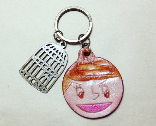 Flower girl punk key ring rolling laugh