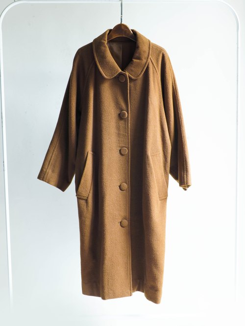 River Hill - Japanese-style curry brown antique tea packages sheep wool coat jacket wool hair vintage wool vintage overcoat oversize