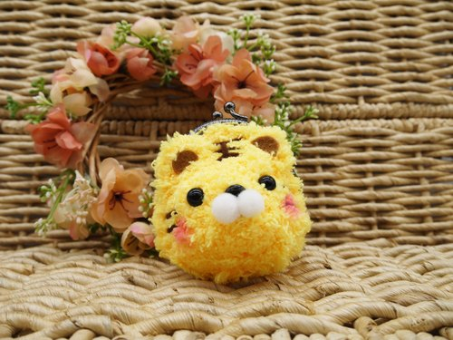 Animal wool knit mini purse mouth gold package - Tiger