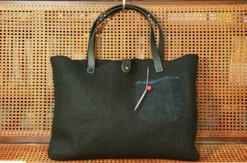 Square wool felt big bag