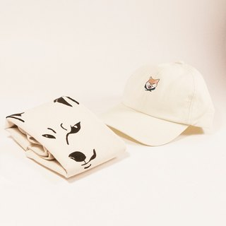 Beige Cap with Shiba Embroidery & Shiba Tote Bag