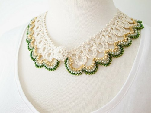 Crochet Lace Collor (Beaded Lace Collar I-b)