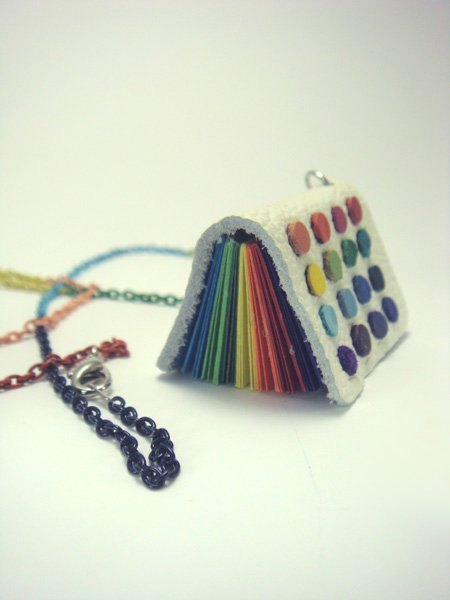 Rainbow little mini-book necklace ::