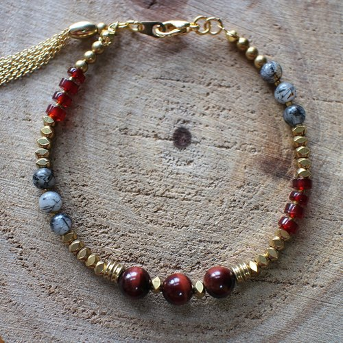 Muse natural wind series NO.81 red carnelian red tiger jealous brass bracelet