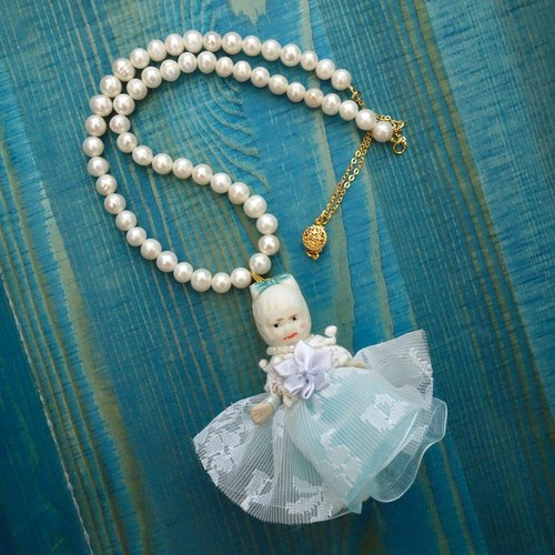 Dolly Play | West Germany ancient porcelain doll retro handmade freshwater pearl necklace romantic style blue doll models