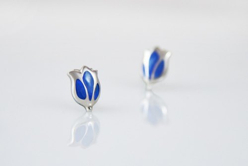[Wonderland] tulip 925 silver enamel earrings - Misty Blue