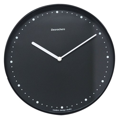 Desrochers / minimalist classic bright black wall clock