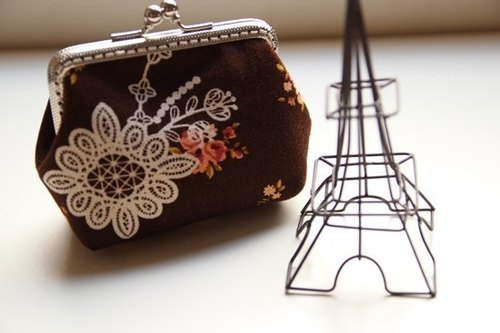 Cotton Fabric: Coin Purses, Cosmetic Bag,  Dinner bag, Brown Flower