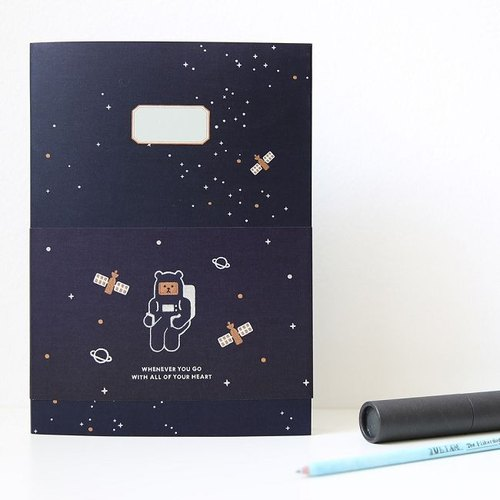 Dessin x MPL.Design- Toffee bears interest stripes notebook (L) V.2- universe blue, MPL23898