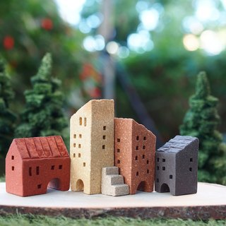 [Small] Simple Village village small house handmade ceramic / Street --5 pcs / group (with stairs, surrounded Jie window can be any combination) production orders
