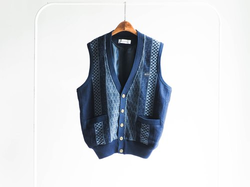 River Hill - deep indigo-dimensional geometry and a half journey story weave antique vintage vintage oversize vest vest
