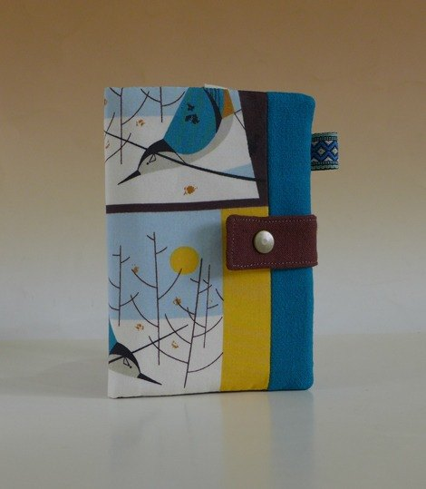 Multifunctional Passport Holder / long cloth clip * Organic cotton - moonlight. Snow. Birds *