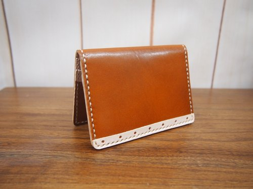 [Retro Series] beige vintage hand-stitched leather card holder card package business card holder
