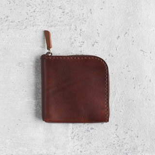 dark brown vegetable cow hide leather coin zip wallet