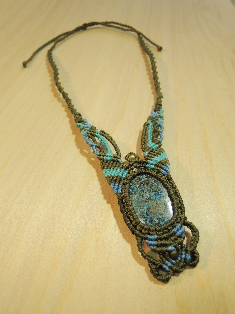Spilled brilliant / natural stone x Brazilian silk wax wire necklace
