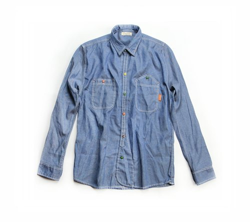 Omake colorful denim work shirt button