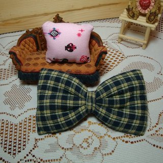Blue plaid bow hairpin