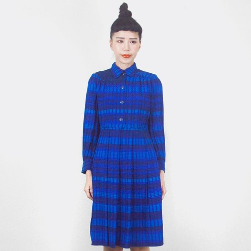 Blue striped long-sleeved vintage dress AG8014