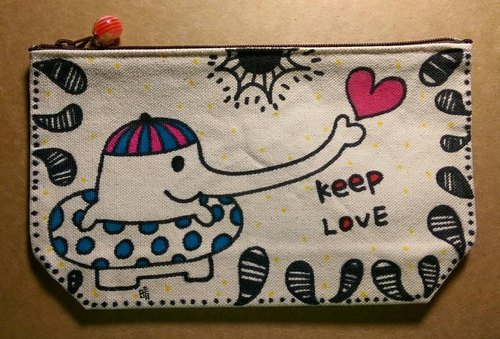 Continue to love down / bottom-painted / makeup bag / pencil case
