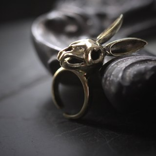 Rabbit Skull Ring by Defy / Handmade Adjustable Jewelry / Bunny Skeleton Brass Metal Rings