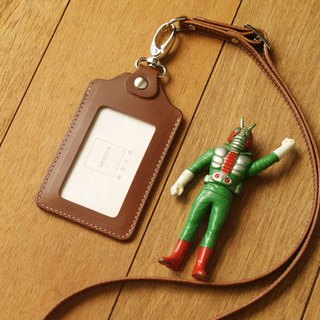 weekenlife - Leather ID card holder / badge holder with lanyard ( Custom Name