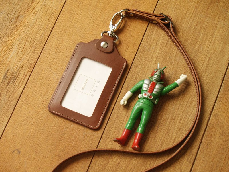 Caramel Coffee- Leather ID card holder / badge holder with lanyard (Custom Name)