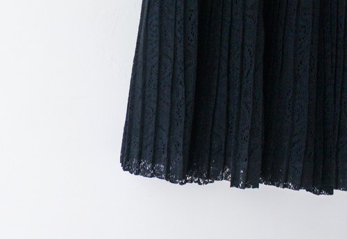 [RE0612SK115] black lace vintage classic pleated skirt