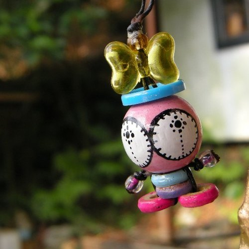 < small travel time > Ob's wooden bead painted doll NO.057