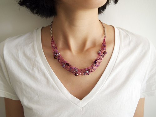 Just Knitting N093-made hand-woven copper wire plastic beads necklace ● Made in Hong Kong