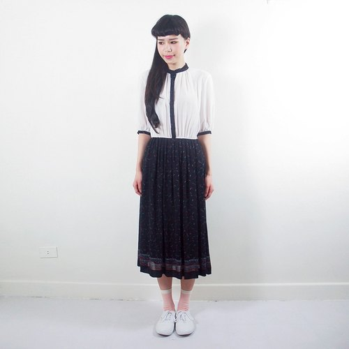 (Special) black and white stitching temperament fifth sleeve chiffon vintage dress