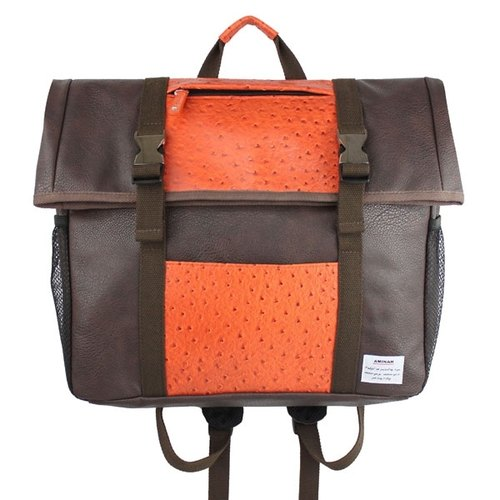 AMINAH- classic chocolate square leather back [am-0260]