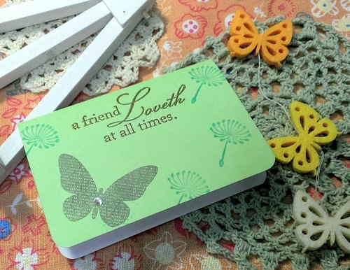 Handmade cards - Butterfly Blessing small card - green (greeting card / Universal Card)