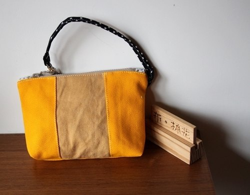 [Cloth. ] Cotton zipper hand clasp purse, canvas bag, bright yellow tile section