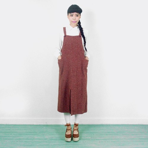 Vintage brick red tape blending wool dress AF6005