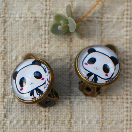 Bamboo chief circle ‧ Super Meng panda Bao healing system earrings