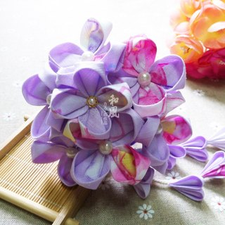Japanese handmade flower hydrangea hairpin Mori girl retro hair style kimono bride kimono bathrobe COS accessories