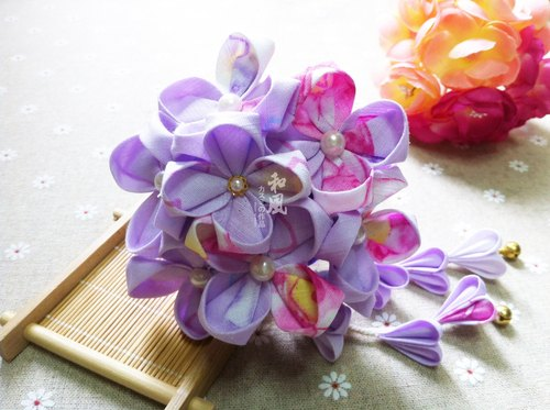 Made in Japan Handmade Flower Ziyang Flower Hairpin Hairen Girl Retro And Wind Hairpin Bride Kimono Bathrobe COS Accessories