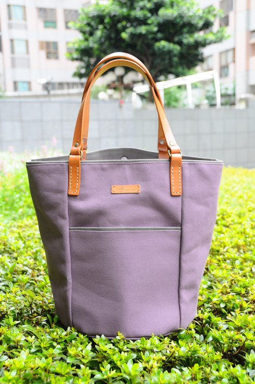 Serena leather shoulder bag - canvas version