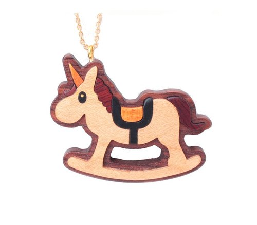 Rocking Horse Wooden Necklace [Maple].
