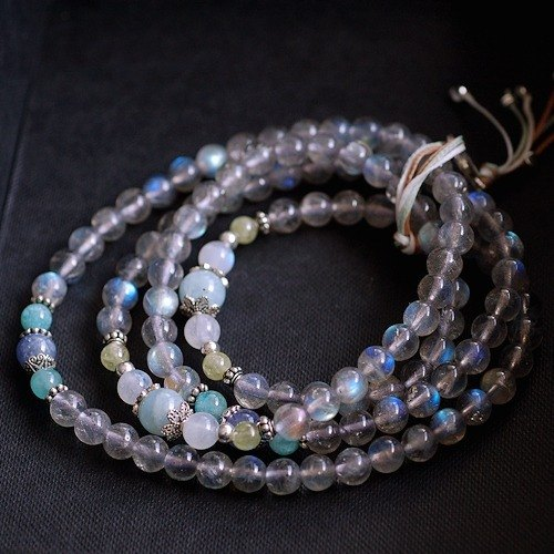 :::*CaWaiiDaisy*::: light glare labradorite * Tanzanite 108 rosary / prayer beads necklace / bracelet multi-turn